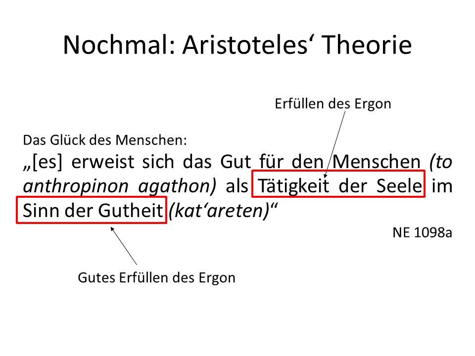 Nochmal: Aristoteles Theorie Das Glück des Menschen: [es] erweist sich das Gut für den Menschen (to anthropinon agathon) als Tätigkeit der Seele im Sinn der Gutheit (katareten) NE 1098a Erfüllen des Ergon Gutes Erfüllen des Ergon