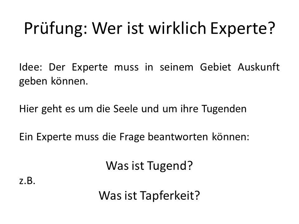 Prüfung: Wer ist wirklich Experte? Idee: Der Experte muss in seinem Gebiet Auskunft geben können. Hier geht es um die Seele und um ihre Tugenden Ein E