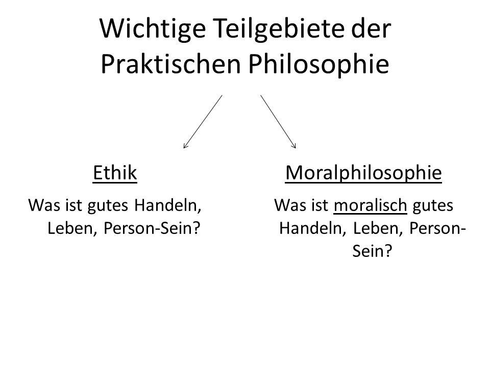 Weitere Teilgebiete Die Praktische Philosophie hat weitere Teilgebiete, in denen es zum Beispiel um Begriffe geht, die der Ethik zugrunde liegen: 1.Metaethik (Was bedeuten moralische Urteile?) 2.Handlungstheorie (Was sind Handlungen?) 3.Anthropologie (Was ist der Mensch?) Weitere Teilgebiete beschäftigen sich mit dem Rahmen unseres Handelns: 4.