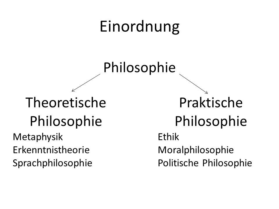 Einordnung Philosophie Theoretische Philosophie Metaphysik Erkenntnistheorie Sprachphilosophie Praktische Philosophie Ethik Moralphilosophie Politisch