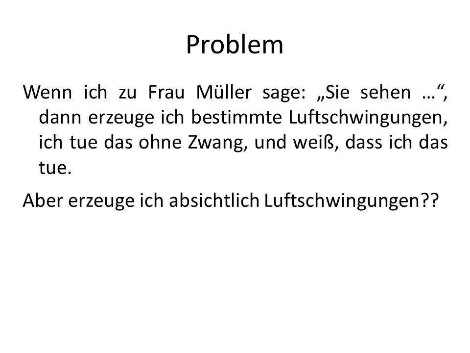Problem Wenn ich zu Frau Müller sage: Sie sehen …, dann erzeuge ich bestimmte Luftschwingungen, ich tue das ohne Zwang, und weiß, dass ich das tue. Ab