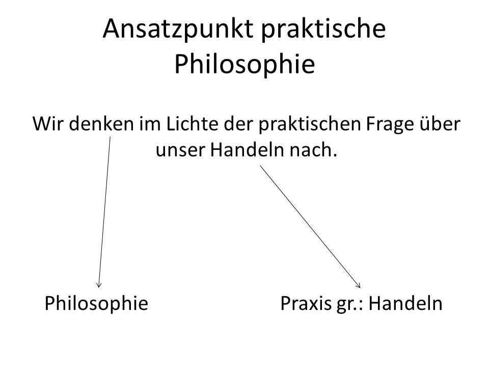 Ansatzpunkt praktische Philosophie Wir denken im Lichte der praktischen Frage über unser Handeln nach. PhilosophiePraxis gr.: Handeln