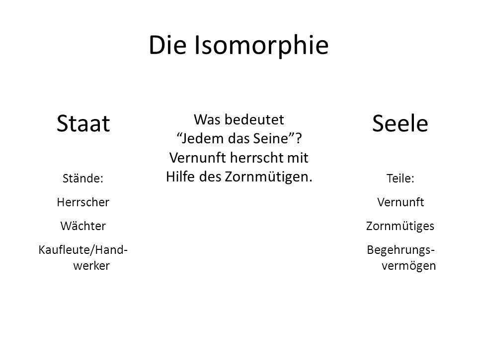 Die Isomorphie Staat Stände: Herrscher Wächter Kaufleute/Hand- werker Seele Teile: Vernunft Zornmütiges Begehrungs- vermögen Was bedeutet Jedem das Seine.