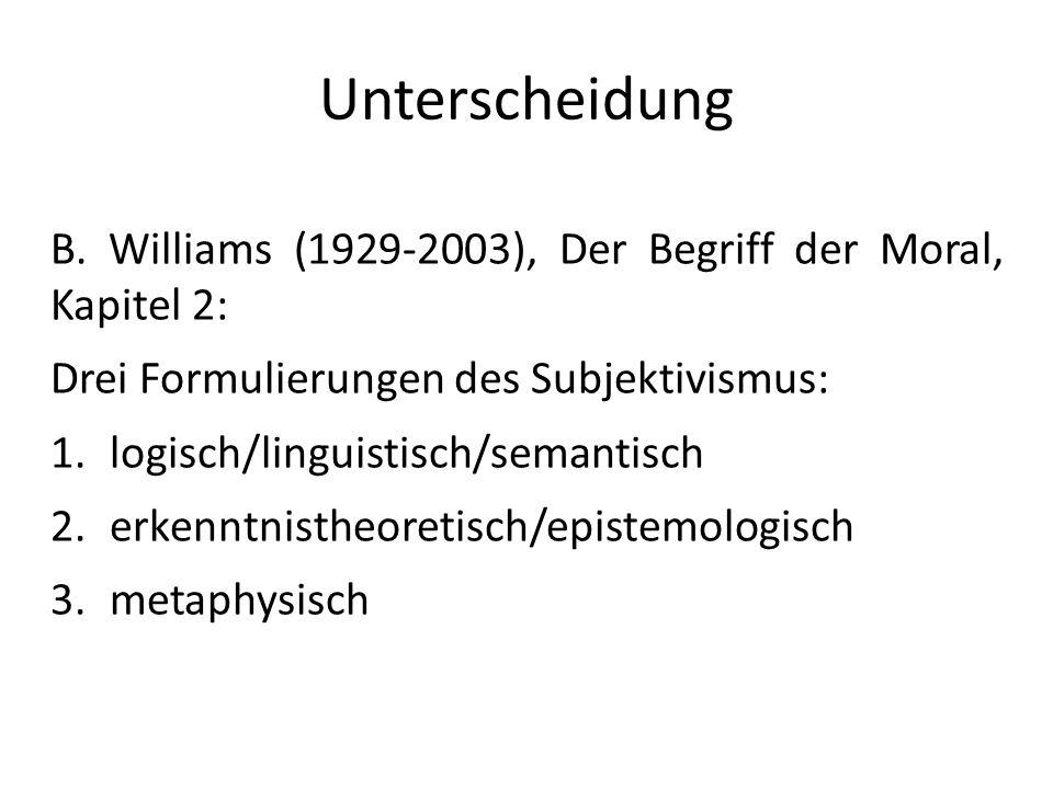 Unterscheidung B. Williams (1929-2003), Der Begriff der Moral, Kapitel 2: Drei Formulierungen des Subjektivismus: 1.logisch/linguistisch/semantisch 2.