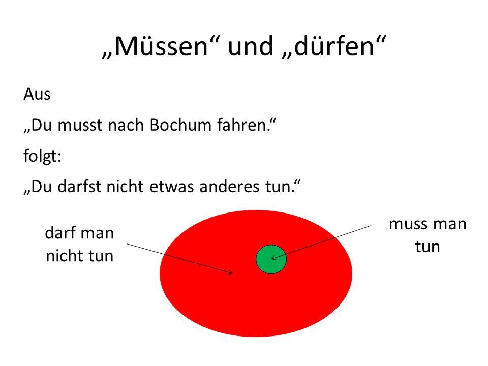 Müssen und dürfen Aus Du musst nach Bochum fahren.