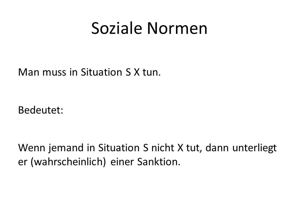 Soziale Normen Man muss in Situation S X tun.