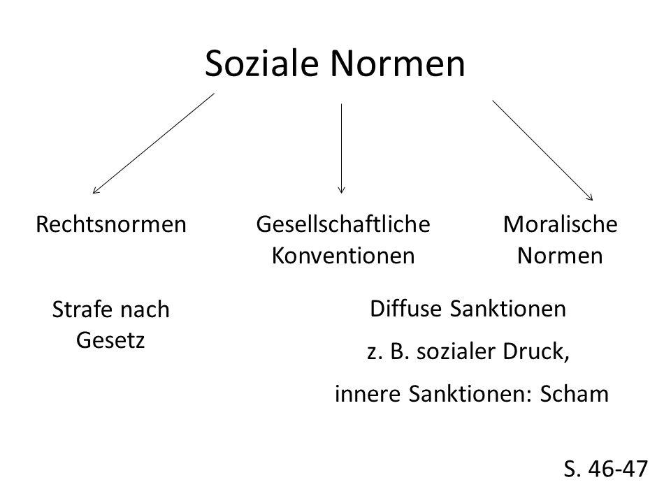 Soziale Normen Rechtsnormen Strafe nach Gesetz Gesellschaftliche Konventionen Moralische Normen S.