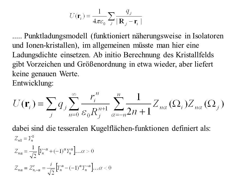 ..... Punktladungsmodell (funktioniert näherungsweise in Isolatoren und Ionen-kristallen), im allgemeinen müsste man hier eine Ladungsdichte einsetzen