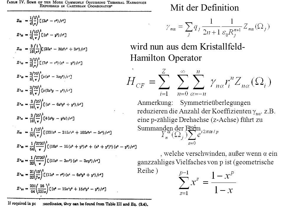 Mit der Definition wird nun aus dem Kristallfeld- Hamilton Operator Anmerkung: Symmetrieüberlegungen reduzieren die Anzahl der Koeffizienten γ nα. z.B