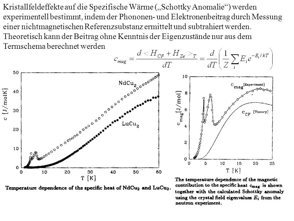 Kristallfeldeffekte auf die Spezifische Wärme (Schottky Anomalie) werden experimentell bestimmt, indem der Phononen- und Elektronenbeitrag durch Messu