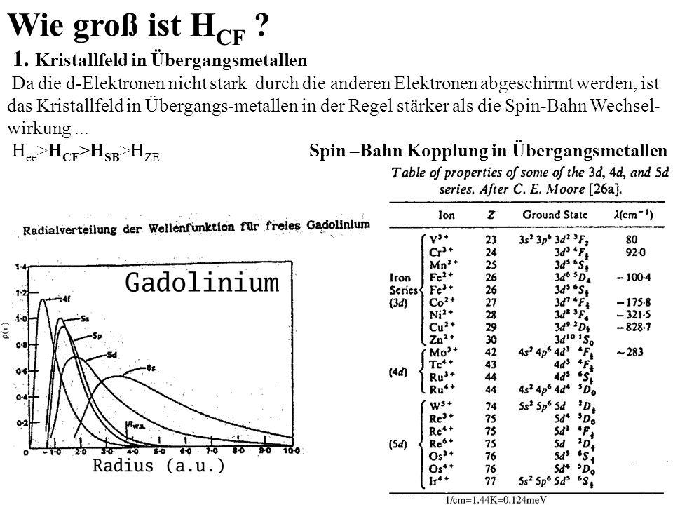 Wie groß ist H CF ? 1. Kristallfeld in Übergangsmetallen Da die d-Elektronen nicht stark durch die anderen Elektronen abgeschirmt werden, ist das Kris