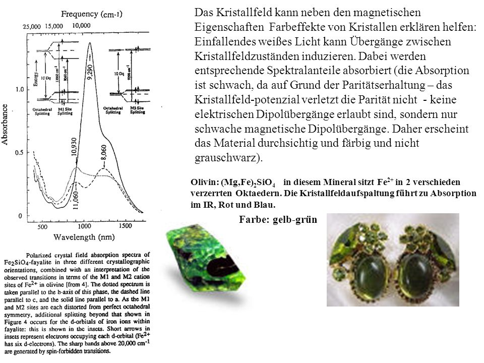 Das Kristallfeld kann neben den magnetischen Eigenschaften Farbeffekte von Kristallen erklären helfen: Einfallendes weißes Licht kann Übergänge zwisch