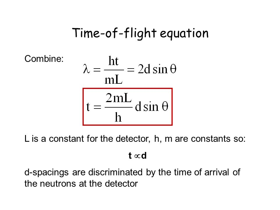 Time-of-flight equation Combine: L is a constant for the detector, h, m are constants so: t d d-spacings are discriminated by the time of arrival of t