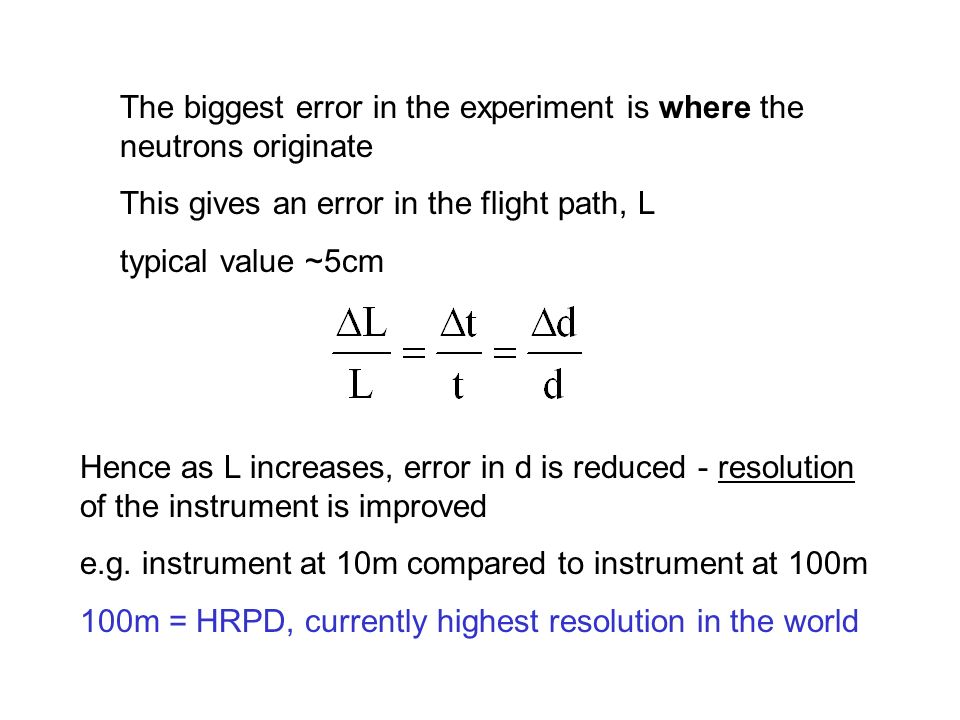The biggest error in the experiment is where the neutrons originate This gives an error in the flight path, L typical value ~5cm Hence as L increases,