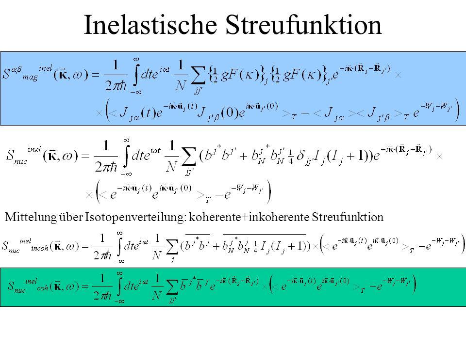 Inelastische Streufunktion Mittelung über Isotopenverteilung: koherente+inkoherente Streufunktion