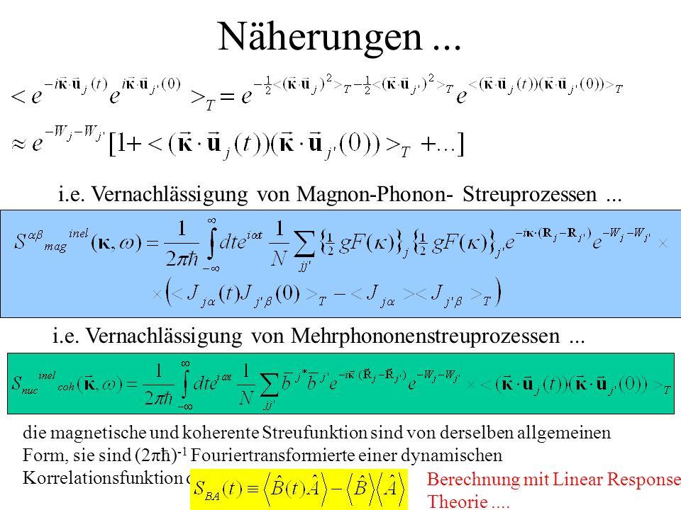 Näherungen... die magnetische und koherente Streufunktion sind von derselben allgemeinen Form, sie sind (2πћ) -1 Fouriertransformierte einer dynamisch