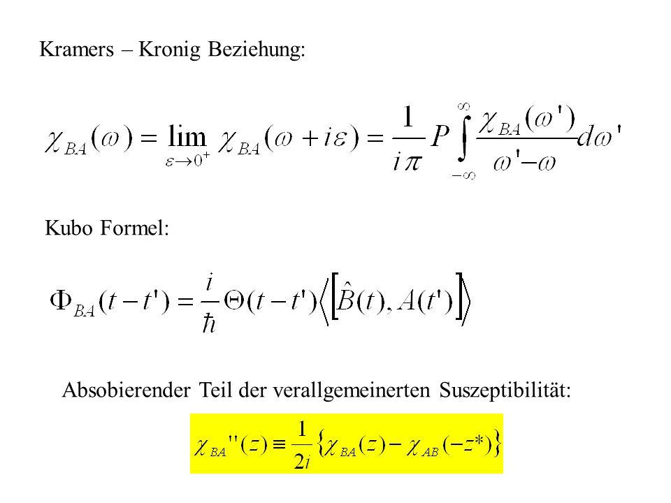 Kramers – Kronig Beziehung: Kubo Formel: Absobierender Teil der verallgemeinerten Suszeptibilität: