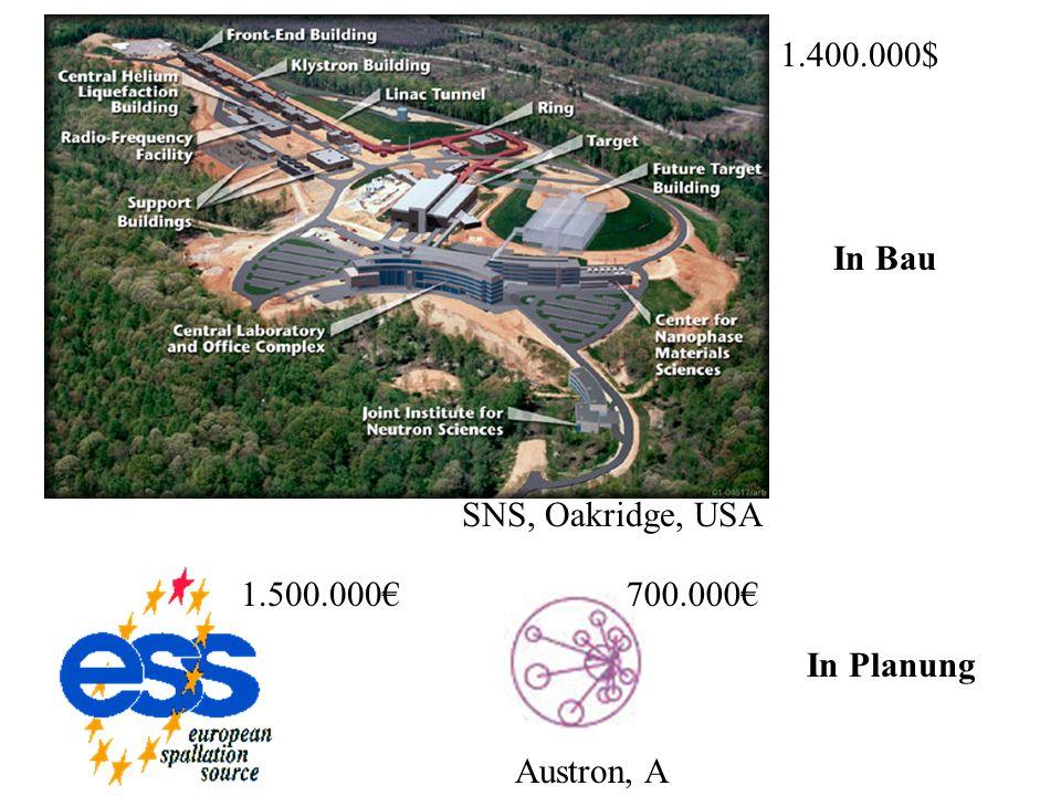 Austron, A SNS, Oakridge, USA In Bau In Planung 1.500.000700.000 1.400.000$