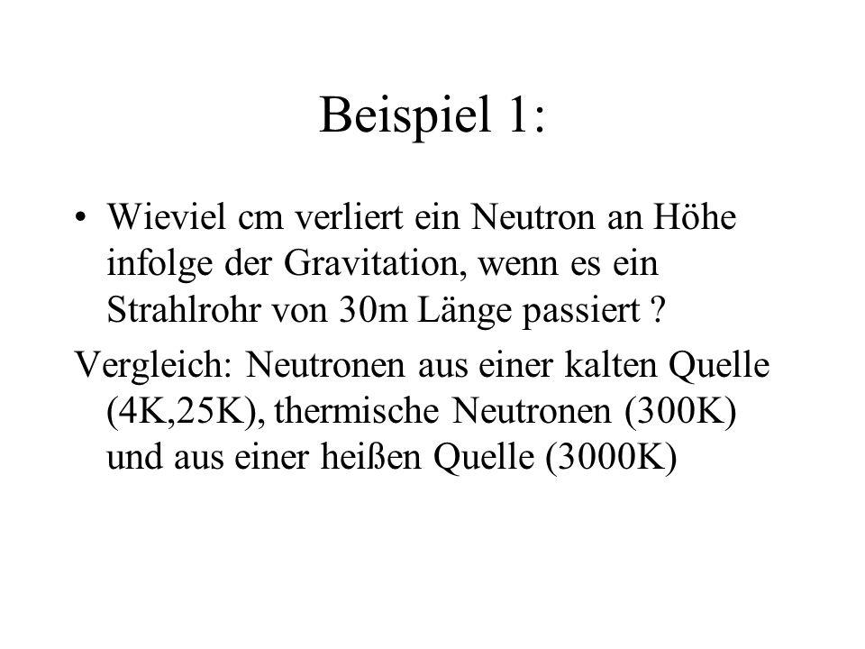 Beispiel 1: Wieviel cm verliert ein Neutron an Höhe infolge der Gravitation, wenn es ein Strahlrohr von 30m Länge passiert ? Vergleich: Neutronen aus