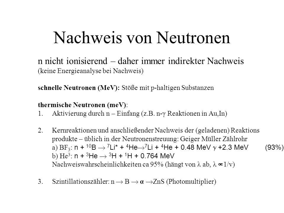 Nachweis von Neutronen n nicht ionisierend – daher immer indirekter Nachweis (keine Energieanalyse bei Nachweis) schnelle Neutronen (MeV): Stöße mit p