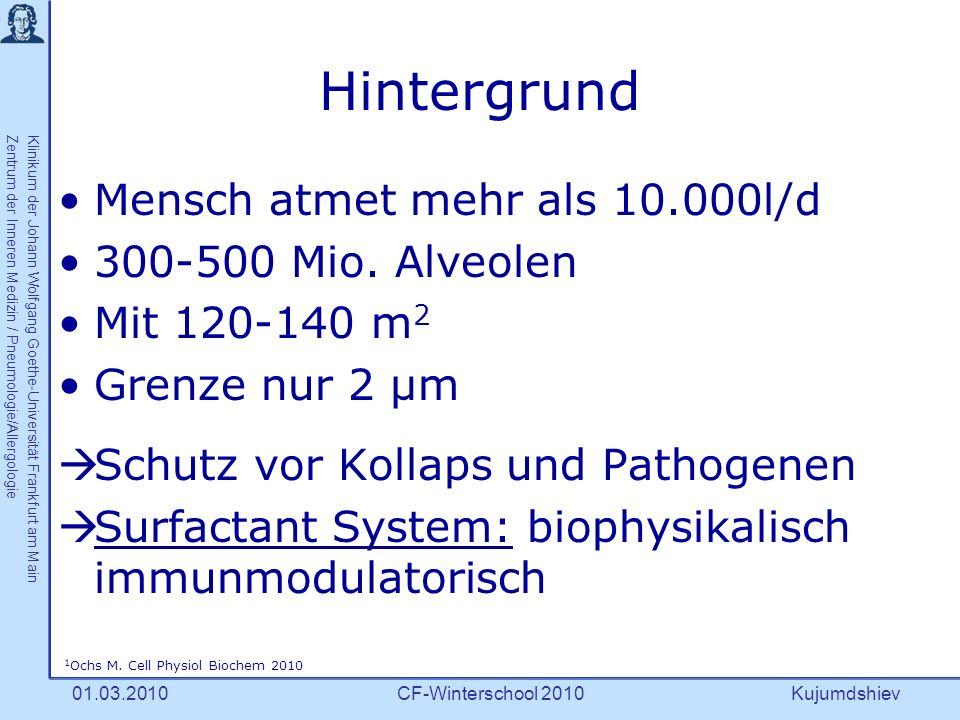 Kujumdshiev Klinikum der Johann Wolfgang Goethe-Universität Frankfurt am MainZentrum der Inneren Medizin / Pneumologie/Allergologie CF-Winterschool 201001.03.2010 Surface active agent 1 = oberflächenaktive Substanz 90 % Phospholipide 10 % versch.