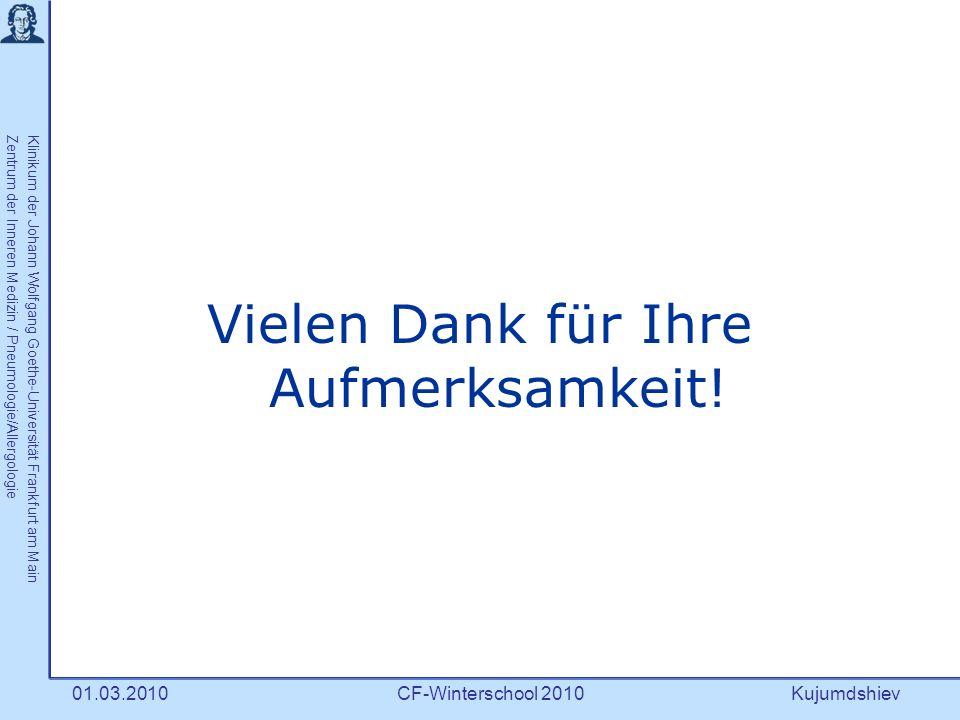 Kujumdshiev Klinikum der Johann Wolfgang Goethe-Universität Frankfurt am MainZentrum der Inneren Medizin / Pneumologie/Allergologie CF-Winterschool 201001.03.2010 Vielen Dank für Ihre Aufmerksamkeit!