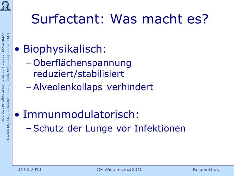Kujumdshiev Klinikum der Johann Wolfgang Goethe-Universität Frankfurt am MainZentrum der Inneren Medizin / Pneumologie/Allergologie CF-Winterschool 201001.03.2010 Surfactant-Proteine (SP)-A, D 3 Perez-Gil J.