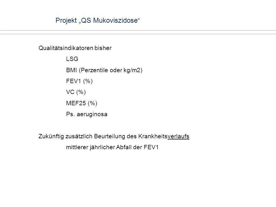 Projekt QS Mukoviszidose Qualitätsindikatoren bisher LSG BMI (Perzentile oder kg/m2) FEV1 (%) VC (%) MEF25 (%) Ps. aeruginosa Zukünftig zusätzlich Beu
