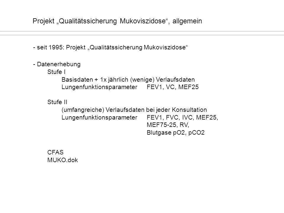 Projekt Qualitätssicherung Mukoviszidose, allgemein - seit 1995: Projekt Qualitätssicherung Mukoviszidose - Datenerhebung Stufe I Basisdaten + 1x jähr
