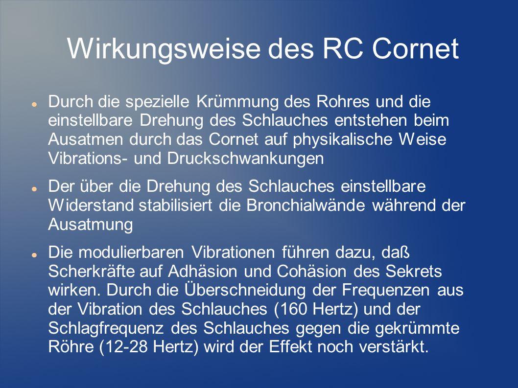 Wirkungsweise des RC Cornet Durch die spezielle Krümmung des Rohres und die einstellbare Drehung des Schlauches entstehen beim Ausatmen durch das Corn
