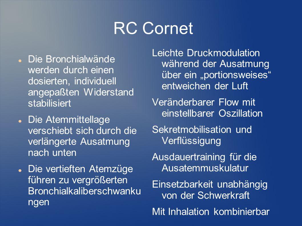 RC Cornet Die Bronchialwände werden durch einen dosierten, individuell angepaßten Widerstand stabilisiert Die Atemmittellage verschiebt sich durch die