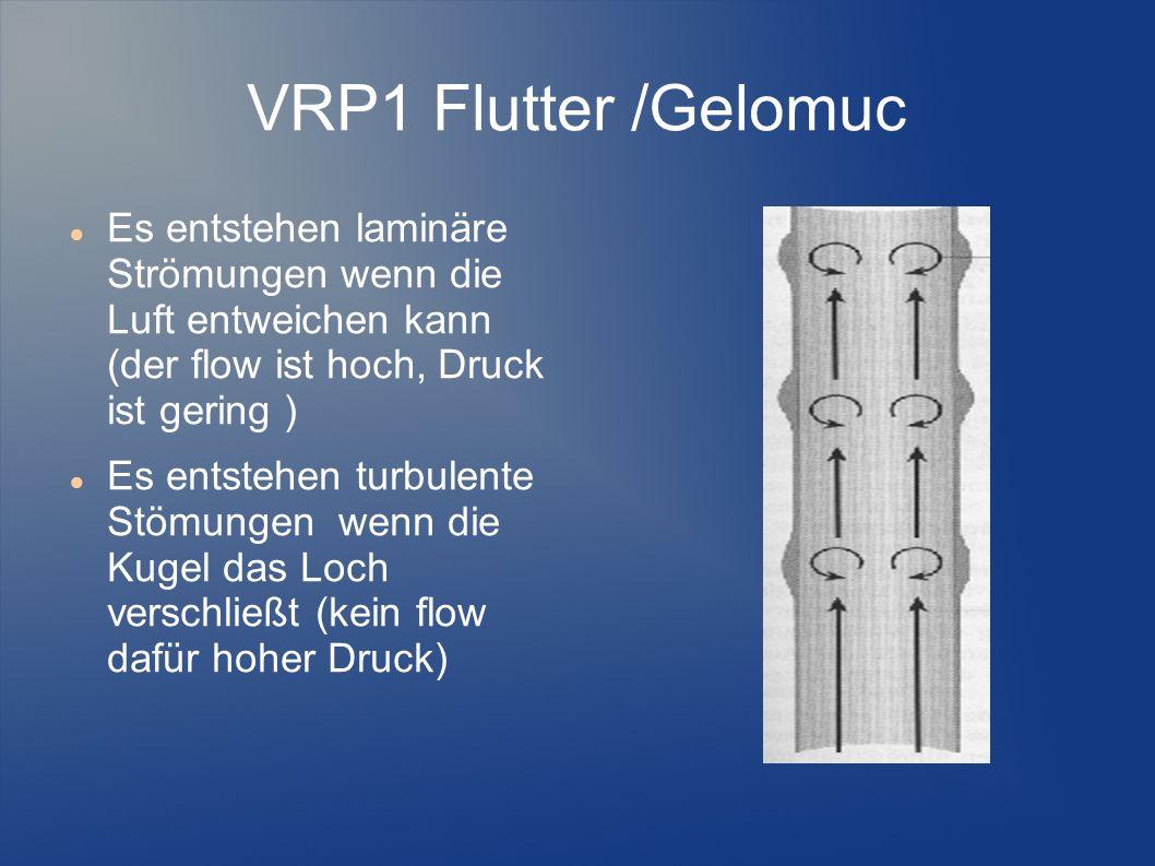 VRP1 Flutter /Gelomuc Es entstehen laminäre Strömungen wenn die Luft entweichen kann (der flow ist hoch, Druck ist gering ) Es entstehen turbulente St