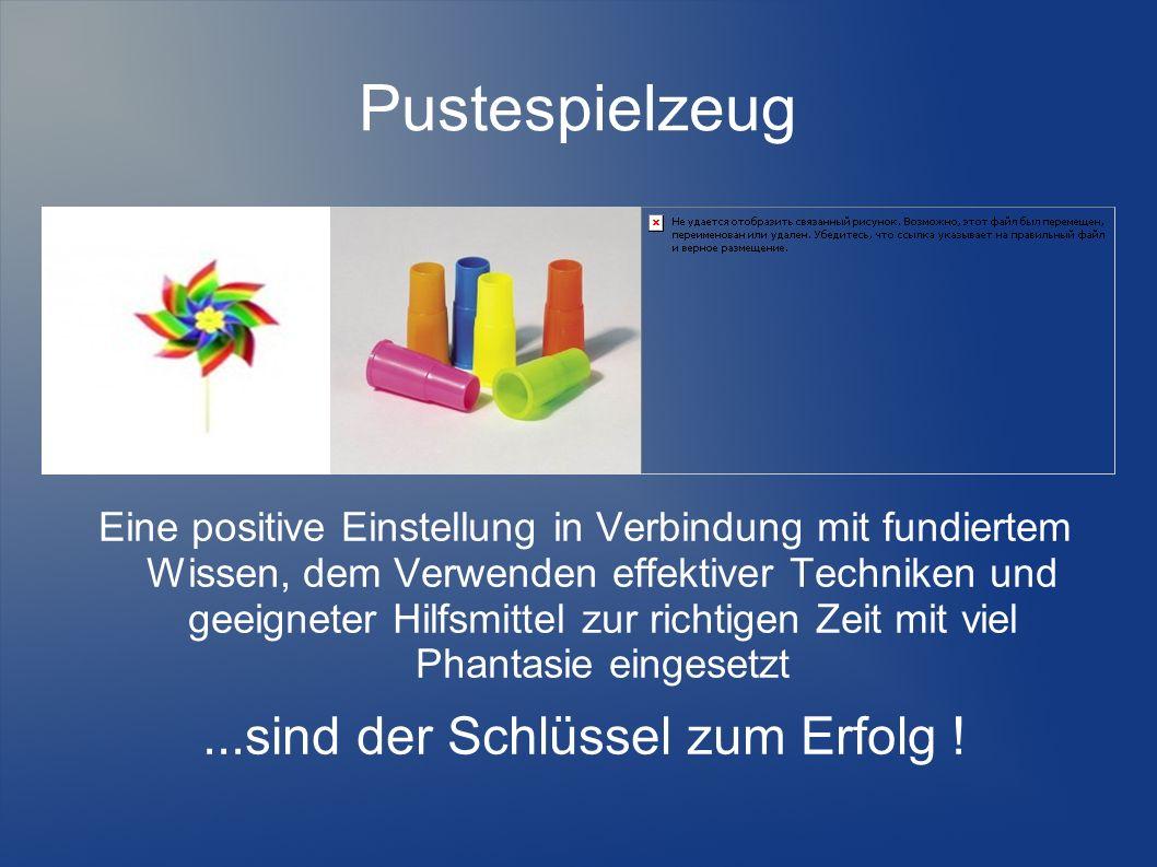 Pustespielzeug Eine positive Einstellung in Verbindung mit fundiertem Wissen, dem Verwenden effektiver Techniken und geeigneter Hilfsmittel zur richti
