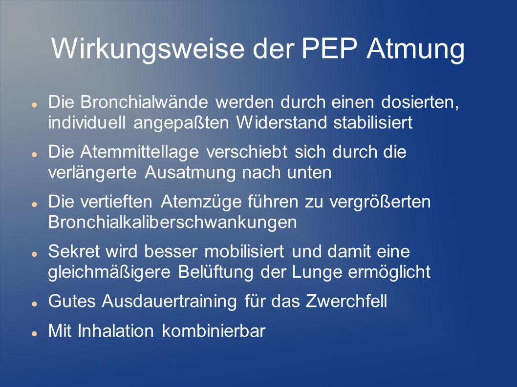 Wirkungsweise der PEP Atmung Die Bronchialwände werden durch einen dosierten, individuell angepaßten Widerstand stabilisiert Die Atemmittellage versch