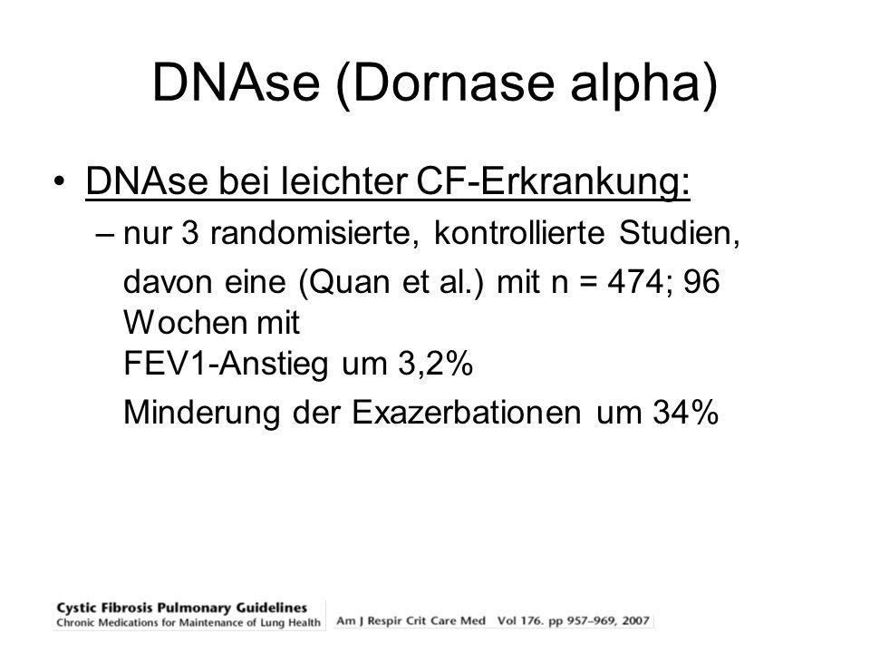 DNAse (Dornase alpha) DNAse bei leichter CF-Erkrankung: –nur 3 randomisierte, kontrollierte Studien, davon eine (Quan et al.) mit n = 474; 96 Wochen m