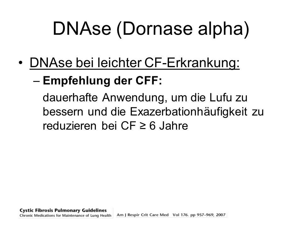 DNAse (Dornase alpha) DNAse bei leichter CF-Erkrankung: –Empfehlung der CFF: dauerhafte Anwendung, um die Lufu zu bessern und die Exazerbationhäufigke
