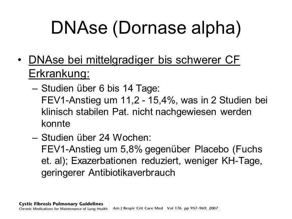DNAse (Dornase alpha) DNAse bei mittelgradiger bis schwerer CF Erkrankung: –Studien über 6 bis 14 Tage: FEV1-Anstieg um 11,2 - 15,4%, was in 2 Studien