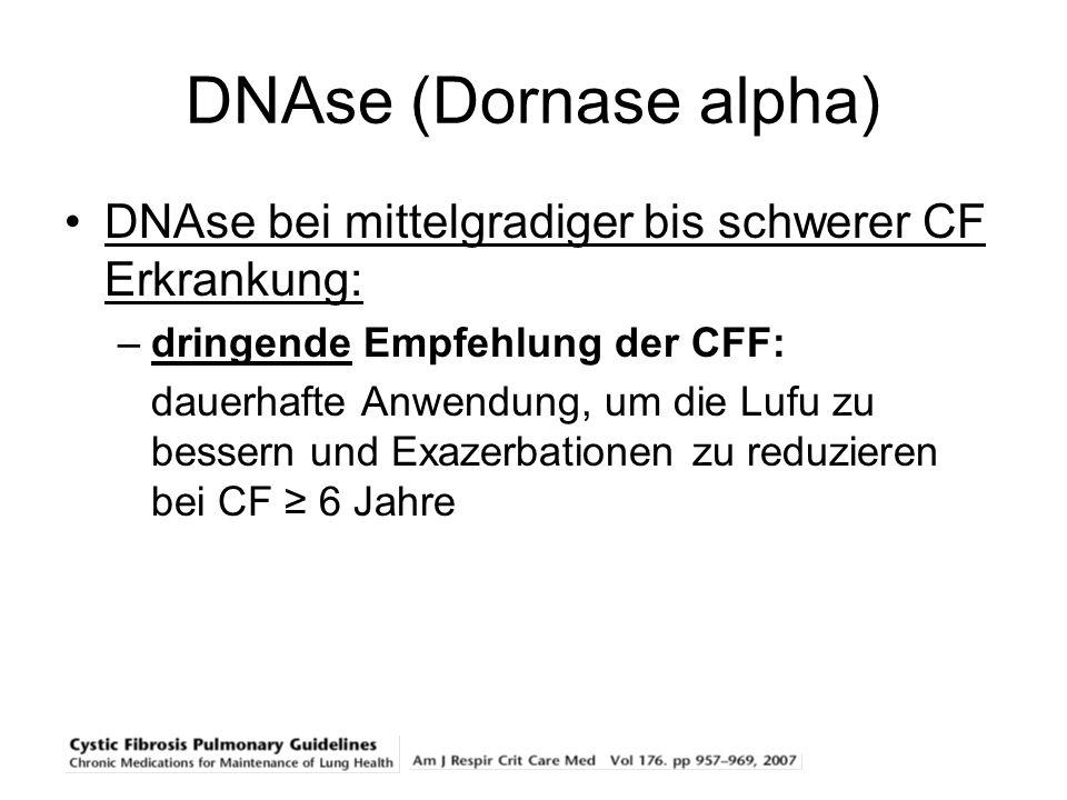 DNAse (Dornase alpha) DNAse bei mittelgradiger bis schwerer CF Erkrankung: –dringende Empfehlung der CFF: dauerhafte Anwendung, um die Lufu zu bessern