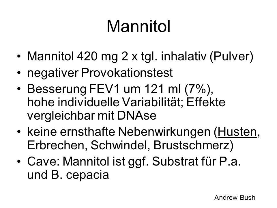Mannitol Mannitol 420 mg 2 x tgl. inhalativ (Pulver) negativer Provokationstest Besserung FEV1 um 121 ml (7%), hohe individuelle Variabilität; Effekte