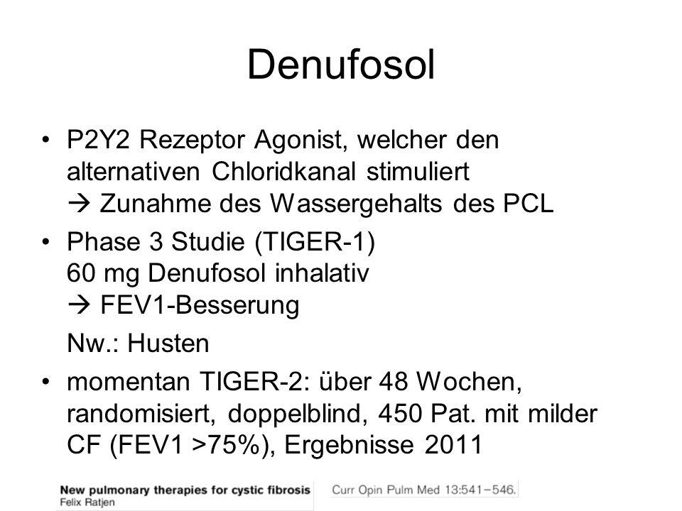 Denufosol P2Y2 Rezeptor Agonist, welcher den alternativen Chloridkanal stimuliert Zunahme des Wassergehalts des PCL Phase 3 Studie (TIGER-1) 60 mg Den