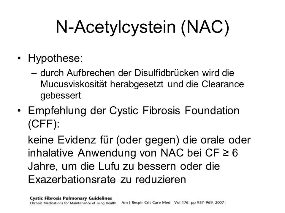 N-Acetylcystein (NAC) Hypothese: –durch Aufbrechen der Disulfidbrücken wird die Mucusviskosität herabgesetzt und die Clearance gebessert Empfehlung de