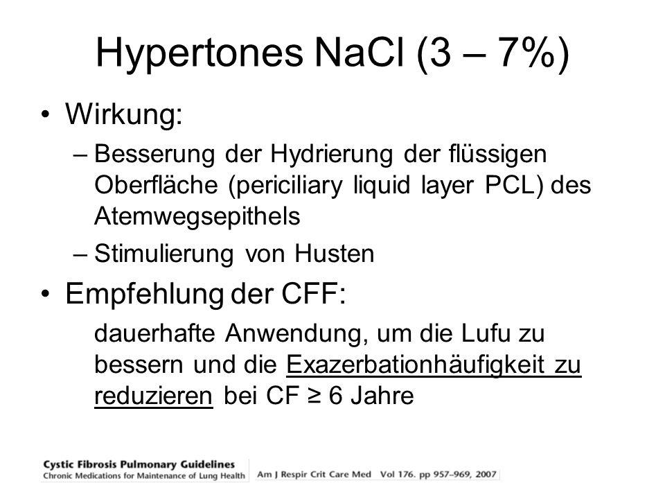 Hypertones NaCl (3 – 7%) Wirkung: –Besserung der Hydrierung der flüssigen Oberfläche (periciliary liquid layer PCL) des Atemwegsepithels –Stimulierung