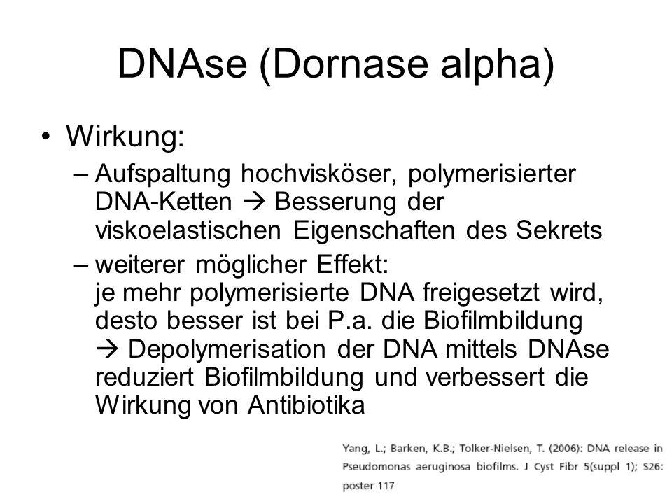 DNAse (Dornase alpha) Wirkung: –Aufspaltung hochvisköser, polymerisierter DNA-Ketten Besserung der viskoelastischen Eigenschaften des Sekrets –weitere