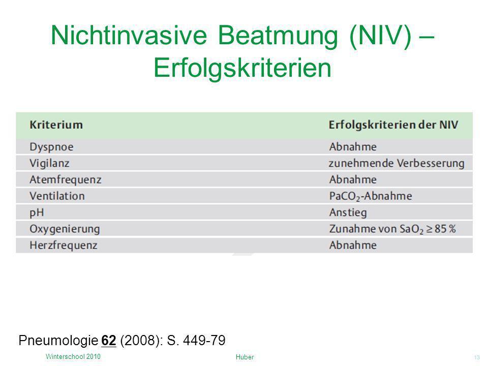 13 Nichtinvasive Beatmung (NIV) – Erfolgskriterien Huber Winterschool 2010 Pneumologie 62 (2008): S. 449-79