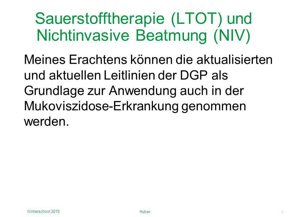3 Sauerstofftherapie (LTOT) und Nichtinvasive Beatmung (NIV) Meines Erachtens können die aktualisierten und aktuellen Leitlinien der DGP als Grundlage