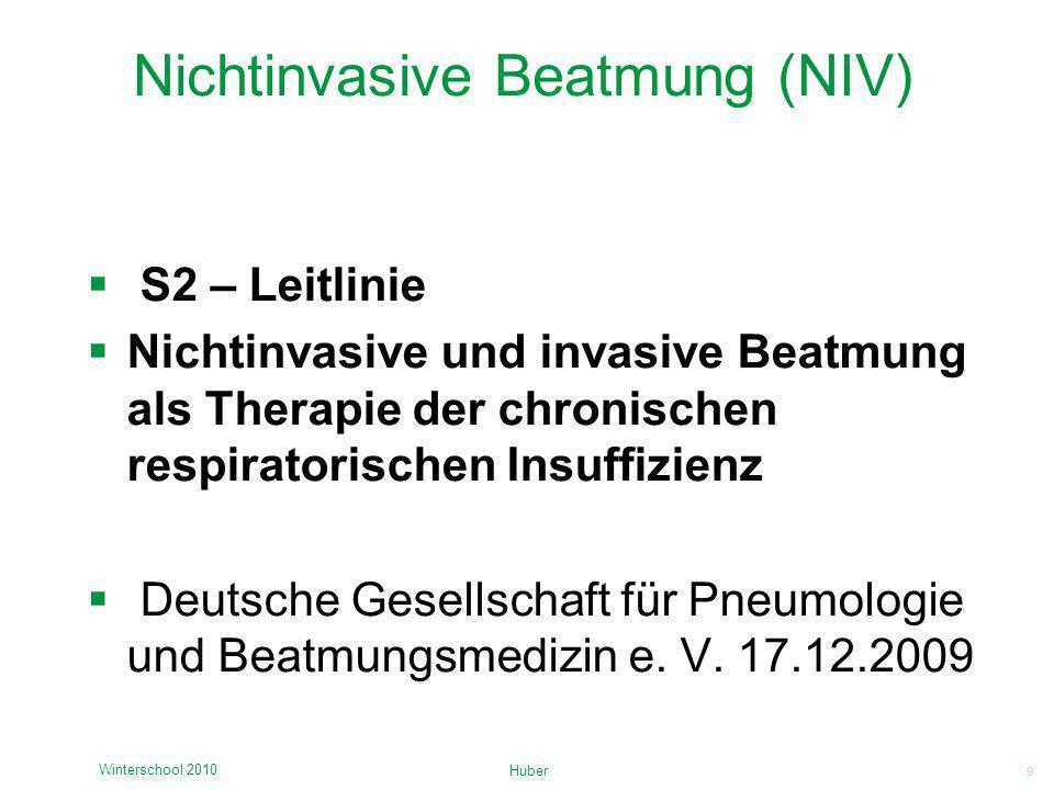 9 Nichtinvasive Beatmung (NIV) S2 – Leitlinie Nichtinvasive und invasive Beatmung als Therapie der chronischen respiratorischen Insuffizienz Deutsche