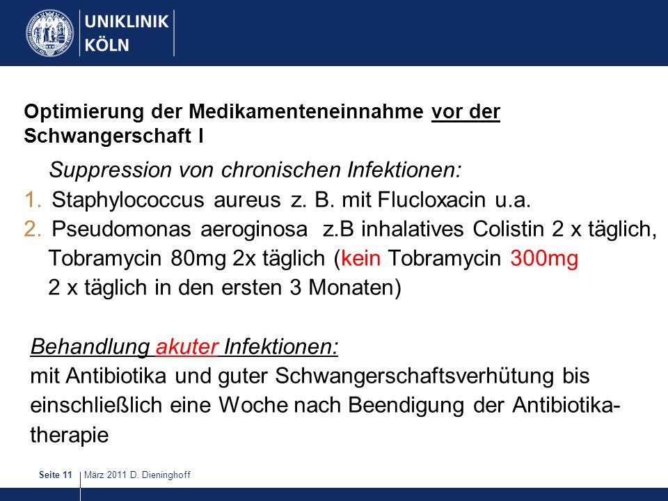März 2011 D. DieninghoffSeite 11 Optimierung der Medikamenteneinnahme vor der Schwangerschaft I Suppression von chronischen Infektionen: 1.Staphylococ