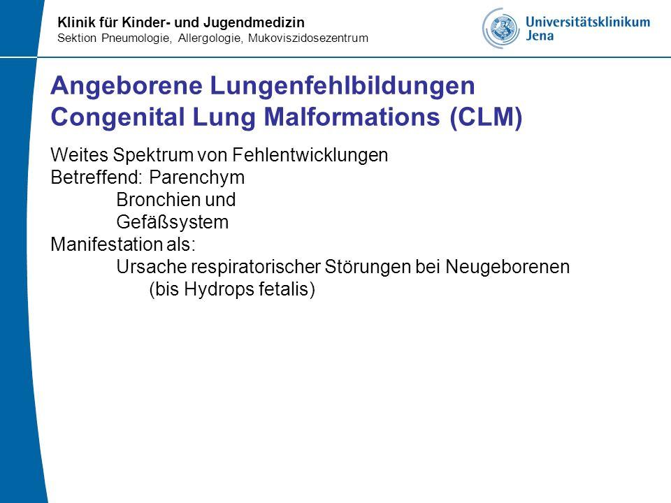 Klinik für Kinder- und Jugendmedizin Sektion Pneumologie, Allergologie, Mukoviszidosezentrum Angeborene Lungenfehlbildungen Congenital Lung Malformati