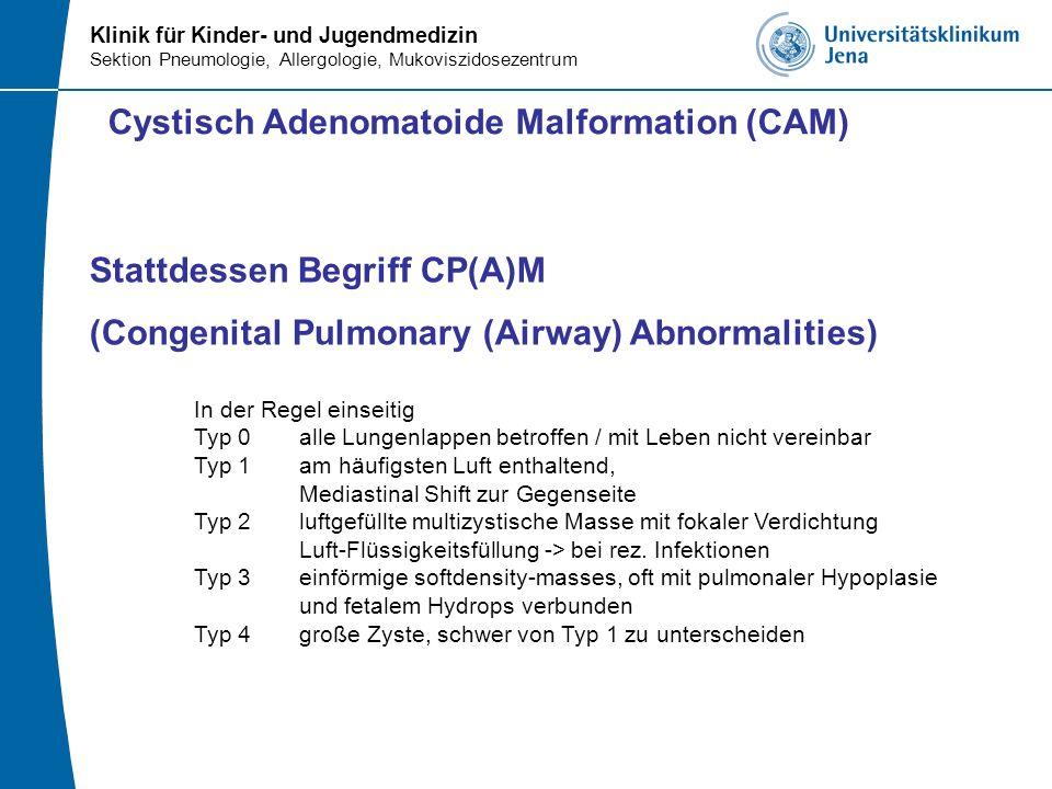 Klinik für Kinder- und Jugendmedizin Sektion Pneumologie, Allergologie, Mukoviszidosezentrum Stattdessen Begriff CP(A)M (Congenital Pulmonary (Airway)
