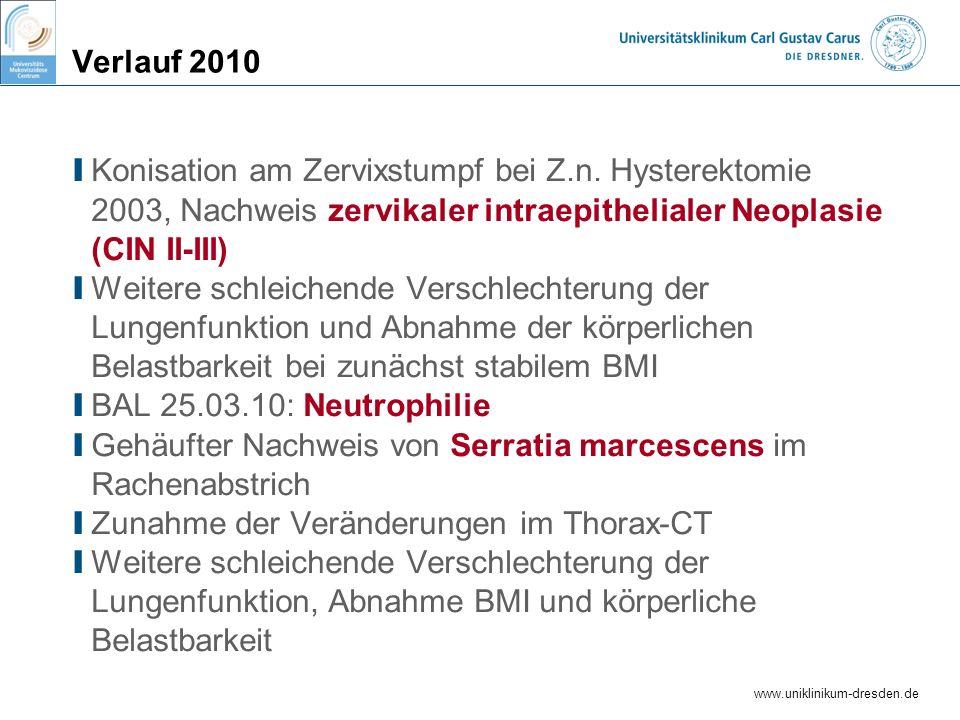 www.uniklinikum-dresden.de Verlauf 2010 I Konisation am Zervixstumpf bei Z.n. Hysterektomie 2003, Nachweis zervikaler intraepithelialer Neoplasie (CIN